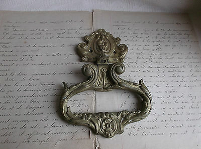French antique door knocker ornately bronze gorgeous - stamped