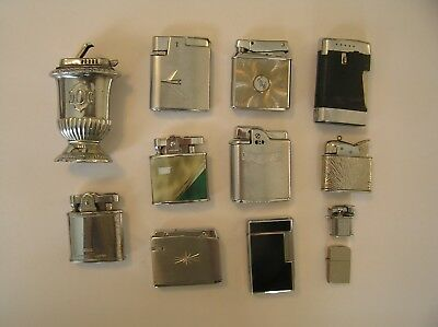 Mixed Lot Of 12 Vintage Cigarette Lighters For Parts Or Repair