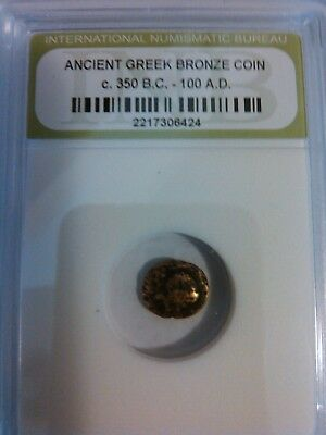 One Ancient Authentic Bronze Greek Coin, Certified Rare coin from 350 BC - 100 A
