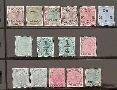 INDIA Indian 1900-1909 QV Mint small lot to 1r Postal Service etc High CV !!