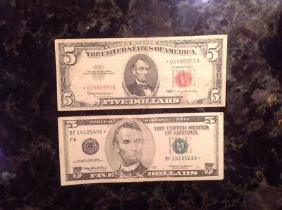 1999 $5 Federal Reserve Note - STAR NOTE + 1963 $5 USN - STAR NOTE