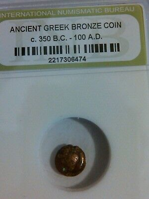 One Authentic Ancient Bronze Greek Coin, Certified Rare Coin from 350BC - 100AD