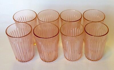Set 8 Anchor Hocking Old Colony Pink Depression Glasses with FREE SHIPPING