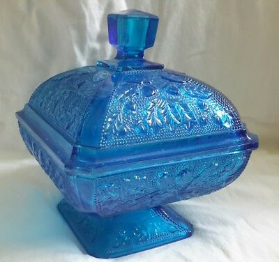 Vintage Carnival Glass Lidded Compote Candy Dish Footed metalic blue Oak Acorns