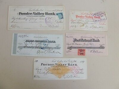 5 Cancelled Checks 1881-1898 Fort Collins, CO F. R. Baker