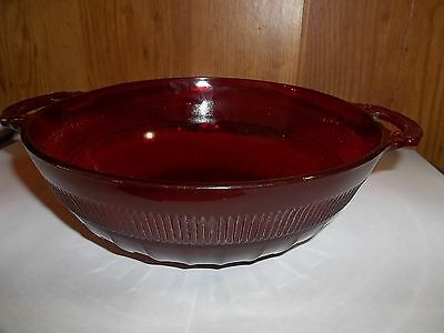 Elegant Antique Ruby Red Serving Bowl Double Handle Rib & Panel Pressed Glass
