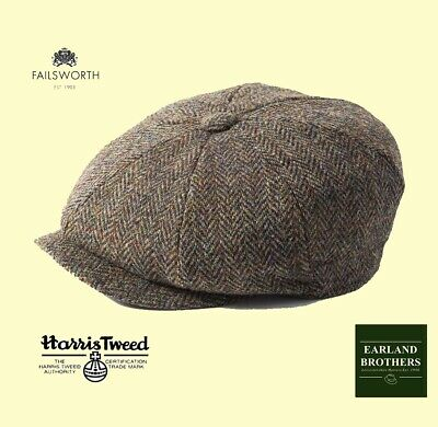 Failsworth Harris Tweed Carloway Cap Beckham Newsboy Peaky Shelby 8 piece Brown