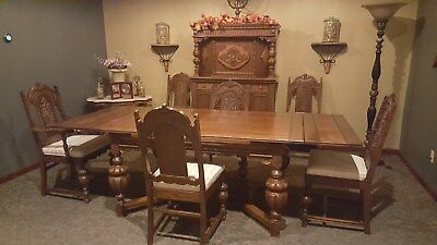 Antique Jacobean 9-Peice Dining Room Set