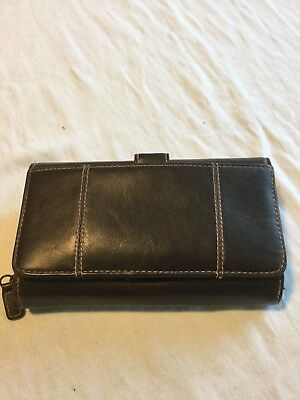 Vintage Hato Hasi Brown Leather Clutch GUC