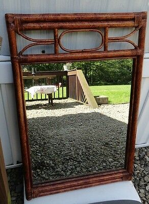 Vintage Mirror Rattan Faux Bamboo Hollywood Regency Island style cool design
