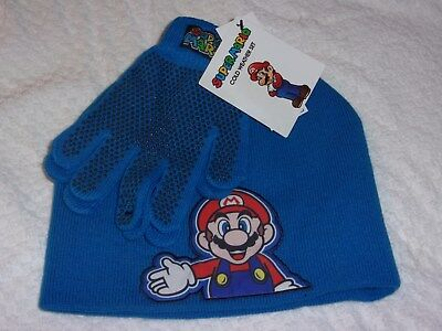Super Mario Boys Hat & Gloves Cold Weather Set  NWT