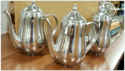 3 matching 64 oz stainless steel coffee pots