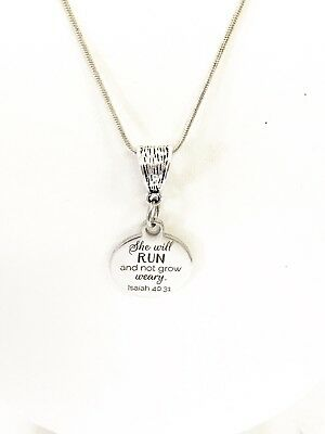 Scripture Jewelry Gift, She Will Run And Not Grow Weary Silver Necklace Gift