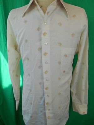 Vintage 1970s Beige Horse Print Gloweave Polyester Disco Party Shirt Large