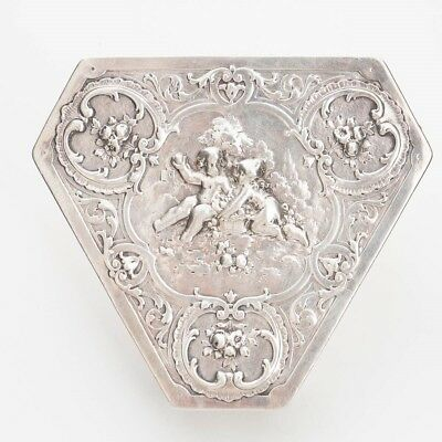 Antique German Sterling Silver Triangle Hinged-Lid Trinket Box 930 Cherubs 5.25""
