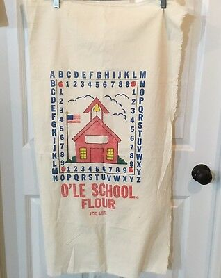 Flour Sack~100 lbs~O'le School Flour~Red School House design~Heavy material