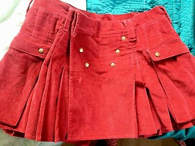 Utilikilt Womens Kilt Red Corduroy Gorgeous!