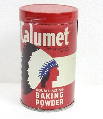 "Vintage Calumet Baking Powder Tin 1/2 lb Native lndian Advertising 4"" Empty"