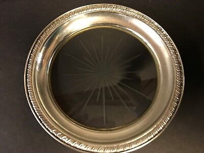 Sterling Silver Wine Bottle Coaster With Cut Glass Starburst