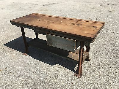 RUSTIC VINTAGE WORKBENCH Antique Industiral Kitchen Island Table ...