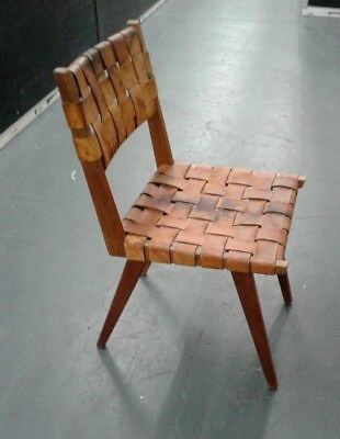 Jens Risom Knoll Leather Webbing Side Chair Mid Century Modern Original