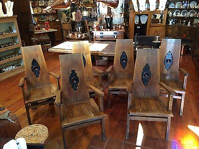 Vintage Arts & Crafts/Mission Style Set 6 Oak Chairs Original Finish - Tagged!!
