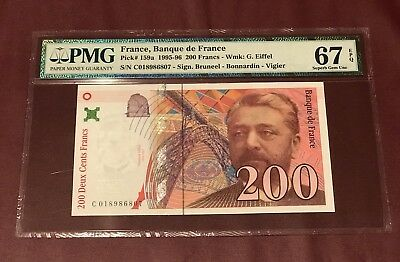 FRANCE FRENCH 200 FRANCS EIFFEL GUSTAVE 1996 PMG 67 SUPERB GEM UNC Pick 159a