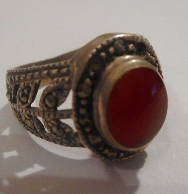 Antique/vintage Sterling Silver Ornate Sardonyx Ring Covered With Marcasite
