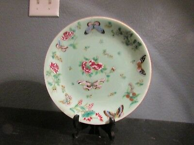 Antique 19th Century Chinese Celadon Canton Famille Rose Porcelain Dinner Plate
