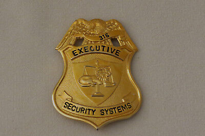 Vintage Obsolete Defunct Executive Security Systems Badge Pin-#316
