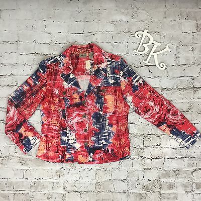 Womens Chico's Denim Style Cotton Red Blue Button Front Jacket Size 0 Small/Med.