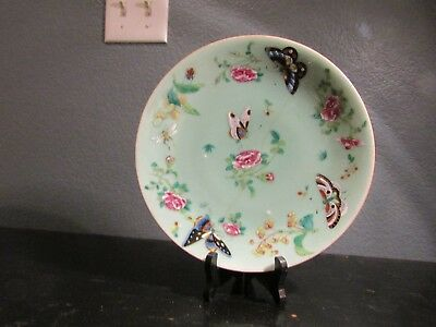 Antique 19th Century Chinese Celadon Canton Famille Rose Dinner Plate