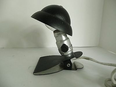 Tiny Vintage Industrial steampunk clip on lamp light Pith Helmet style shade
