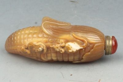 Chinese exquisite agate hand-carved mouse corn shape snuff bottle