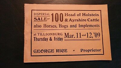 1909  Annandale Stock Farm Holstein & Ayrshire Dispersal Sale Catalog - Canada