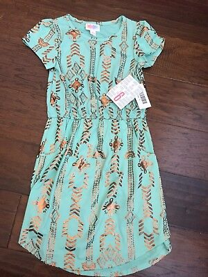 LuLaRoe KIDS Size 6 Elegant Mae Dress Mint Green Gold Foil Aztec Print RARE! FUN