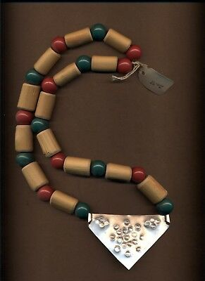 St. Eom wooden bead and metal necklace, excellent condition
