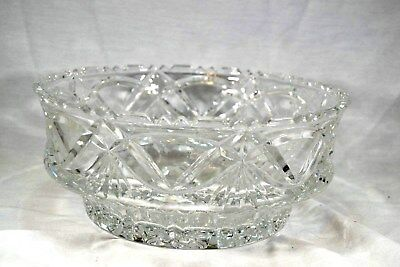 "Vintage Heavy Lead Cut Crystal Serving Salad Bowl Large 8"" x 4"""