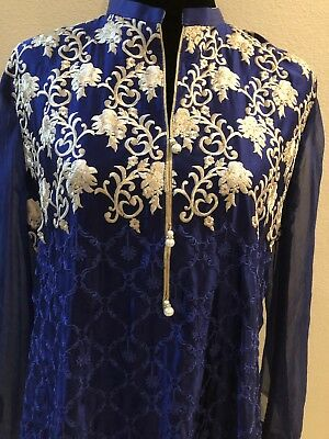 Agha Noor replica Fully Embroidered Silk Kurti Size Large Blue