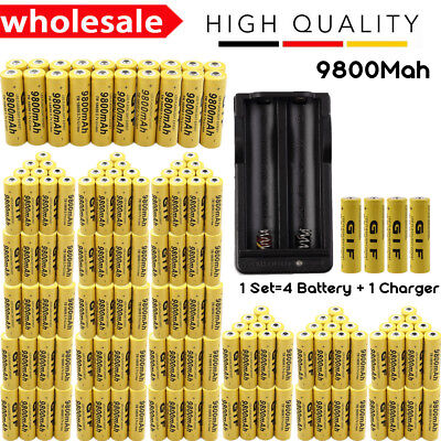 LOT 3.7V 18650 9800mAh Li-ion Rechargeable Battery & Charger For Flashlight VIP