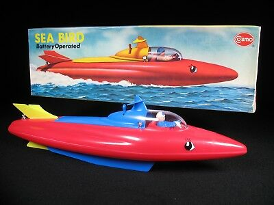Vintage Sea Bird Futuristic Hard Plastic Speed Boat Cosmo Hong Kong Boxed Ship