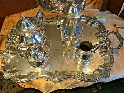 """Ornate  Int'l Silverplate Tea And Coffee Service With Huge 29"""" Sheffield Tray"""