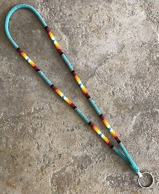 """Native American Fully Beaded Rope Turquoise Green Keychain 19"""" Lanyard"""