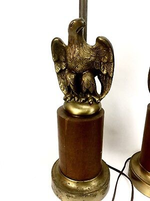 Vintage Pair Mid Century Golden Federal Eagle Lamps Heavy Metal Base Brass Cast