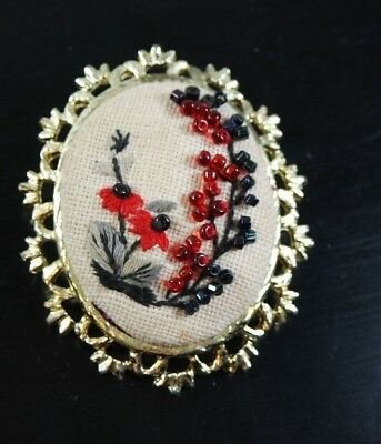 Vintage Gold Tone Embroidery Beaded  Large Oval Pin Brooch/ Victorian Style