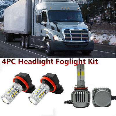 4pcs 2008-2017 Freightliner Cascadia LED Headlight Bulbs 6500K Low Beam+Foglight