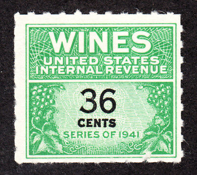 US RE135   36c   WINES  REVENUE STAMP 1941 MINT NGAI  LH  F 7034