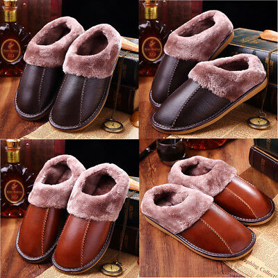 AU Mens Winter Home Slippers Warm Fleece Lined Leather Wrapped Heel Slip On Flat