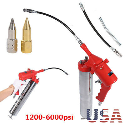 Heavy Duty One-Hand Pistol Grip with Flex Hose  Grease Gun Delivers 1200-6000PSI