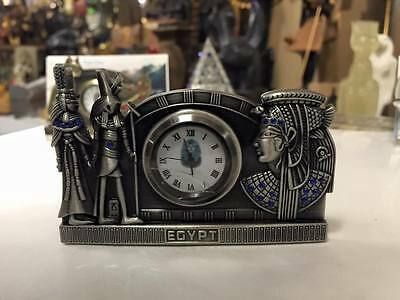 Unique Hand Made Egyptian Pewter Business Card Holder and Clock Mad in Egypt